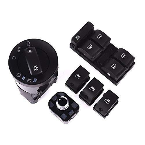 YEXIANG Cabine Accessoires Compatibel Audi A4 Vervanging voor Koplamp Schakelaar Vermogen Raamschakelaar/Achteruitkijkspiegel Schakelaar 6 Stuks Set Zwart