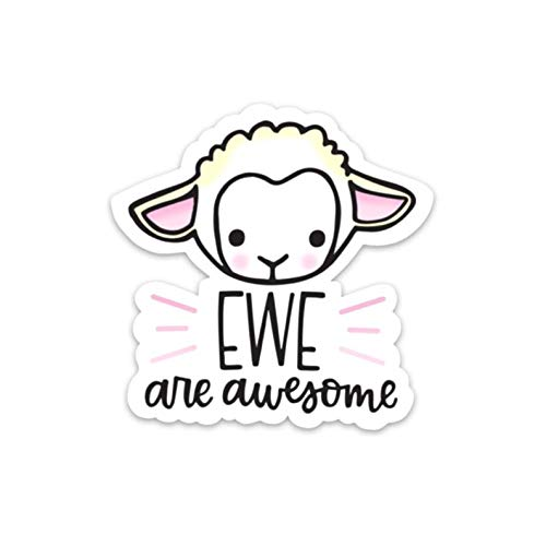 Cool Sticker For Cars, Trucks, Water Bottle, Fridge, Laptops Sheep,Ewe are Awesome Stickers (3 Pcs/Pack)