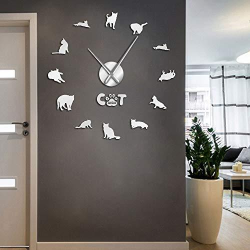 American Shorthair DIY Big Wall Clocks Domestic Cat Home Decor I Love Cats Wall Art Long Time Wall Clock(Plata,37inch) Vinilo Record Wall Clock Large Modern Home Decor Original Wall Art FA