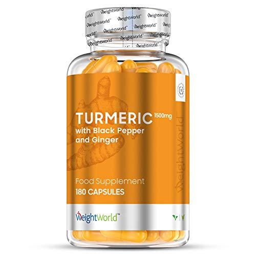 Curcuma 1500 mg au poivre noir et au gingembre | 180 capsules vegan à haute absorption composées de curcumine | 2 mois d'approvisionnement | pour les douleurs articulaires, antioxydant