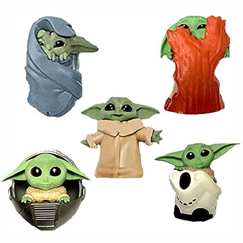 BESTZY Baby Yoda Toy 5 Figuras de Peluche para Bebé Baby Yoda Doll Figure Modelo de Acción para la Oficina o Los Niños