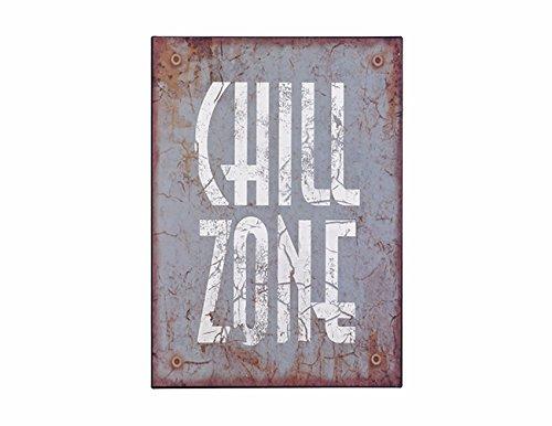 Deko-Schild Chill-Zone H ca. 35 cm Metall Wanddekoration Blechschild Nostalgieschild Wandbild