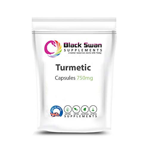 Black Swan Turmeric 750mg Capsules - with Anti- inflammatory and Anti-oxidant Properties - Support Healthy Skin, Healthy Joint, Healthy Immune System and Digestive System (30 Caps)