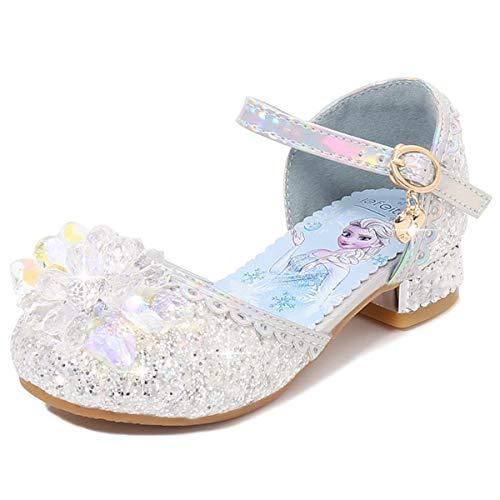 AIYIMEI Fille Cristal Fleur Chaussures de Princesse Elsa Talons Plats Paillettes Déguisement Argenté Bleu Rose Doux Halloween Noël Anniversaire Carnaval Cosplay EU23-38