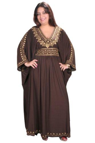 Egypt Bazar Damen Kaftan im Oriental Style, Einheitsgröße: M bis 3XL (40-58), (Braun/Gold)