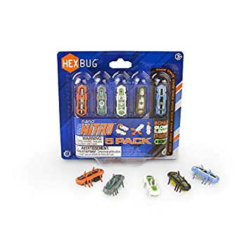 HEXBUG nano Nitro 5 Pack - Sensory Vibration Toys for Kids and Cats - Tiny HEX BUG Children's Toy Technology with Batteries Included - Multicolor