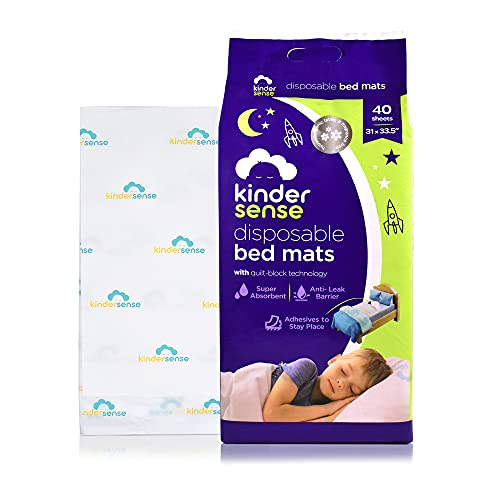 Kindersense - Disposable Bed Pads for Potty Training (40 Pads) - Bedwetting Pads & Mattress Protector - Incontinence Pads with Adhesive - Leakproof and Absorbent Pads. Alternative to Training Pants