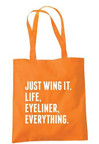 illustratedidentity Just Wing It. Life, Eyeliner, Everything Tragetasche, 37,5 x 42 cm, mit langen Griffen, Orange - Orange - Größe: Einheitsgröße