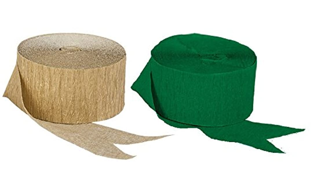 Green and Dark Metallic Gold Crepe Paper Streamers (2 Rolls Each Color) MADE IN USA!