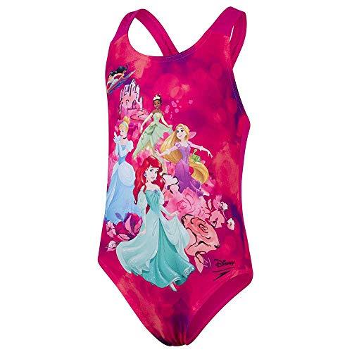 Speedo Disney Princess Digital Placement Swimsuit If Costume da Bagno Bambine, Bambina, Costume da Bagno, 8-07970F369_M, Rosa Elettrico/Viola/Nero, 6 Años