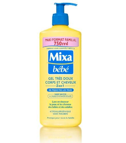 Mixa Bébé Gel Très Doux Corps et Cheveux 2en1 sans Savon Maxi Format Familial 750 ml