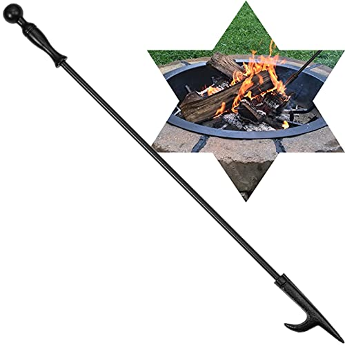 AMAGABELI GARDEN & HOME 26in Fireplace Poker Fire Poker for Fire Pit Fire tool Heavy Duty Wrought Iron Steel Poker Indoor and Outdoor Campfire BBQ Rustproof Tool Black