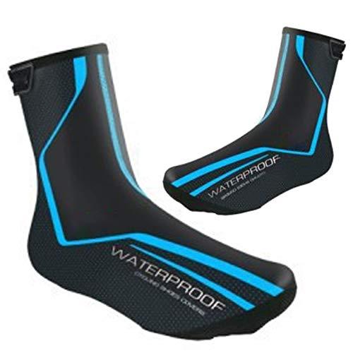 Wodoszczelne osłony na buty rowerowe, zimowe, wyścigowe, termiczne, ciepłe buty dla mężczyzn i kobiet, buty rowerowe MTB (niebieskie, EU43-46 (UK9.5-11.5))
