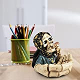Hearthxy Aschenbecher für draussen Auto Skelett Totenkopf Halloween dekoTischaschenbecher Tischdeko Horror Gruselig Schädeldekoration für drinnen und draußen, Heimdekoration, Raucherbehälter - 4