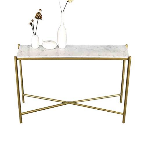 FUFU Tavolini Narrow Consolle X-Design Slim Ingresso accento Tavolo Divano laterale con Gold Metal di marmo della struttura Corridoio voce della tabella for Living Room Porch Doorway Tavolini da divan