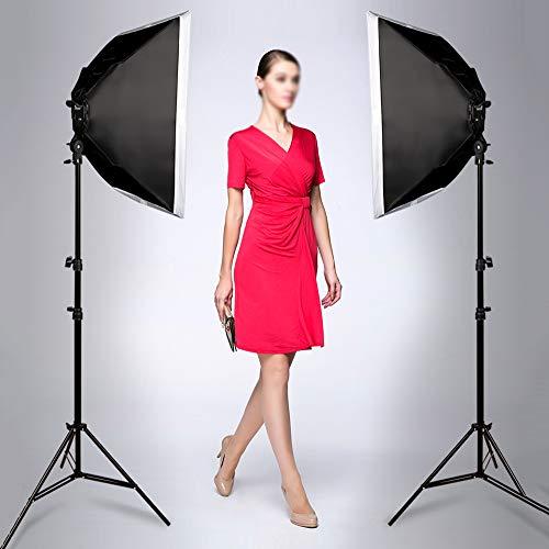 QWERTOUY Studio fotografieset met LED-verlichting, verstelbaar, met houder voor softbox statief