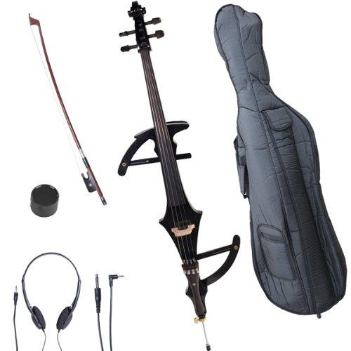 Cecilio CECO-4BK Ebony Electric Silent Metallic Black Cello in Style 4, Size 4/4 (Full Size)