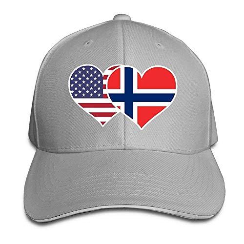 LLeaf Berretto da Baseball Classico, Berretto con Visiera Regolabile per Adulto Unisex Bandiera Americana della Norvegia Cuore