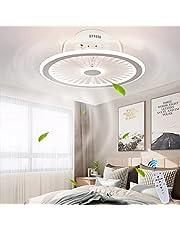 Plafondventilator met verlichting, met afstandsbediening, dimbaar, windsnelheid, 40 W, moderne led-plafondlamp, stille ventilator, hanglamp voor slaapkamer, woonkamer, kantoor, lamp, wit