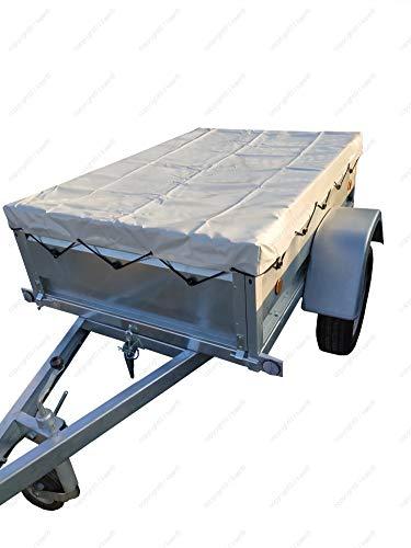 Bâche plate KAER 2410x1410x90mm - pour remorque de dimensions intérieures (utiles) 233x132cm - Qualité professionnelles (650g/m²)