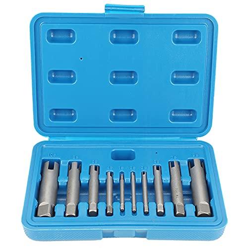Topwor Juego de 10 piezas de extracción de tornillos, juego de extractores de tornillos, machos de rosca defectuosos de HSS de 3 a 20 mm, tornillos rotos, extractor de tornillos