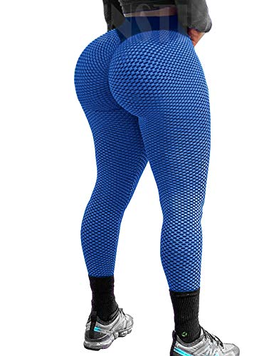 INSTINNCT Women Yoga Pants High Waist Mesh Seamless Compression Booty Push up Hip Anti Cellulite Squat Proof Fitness Leggings Gym Workout Tights Blue,L