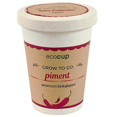 Feel Green Ecocup, Piment Certifiées Bio, Idée Cadeau (100% Ecologique), Grow-Your-Own/Kit Prêt-à-Pousser, Plantes Dans Coffee Cup 10 x 8 cm, Produit En Autriche