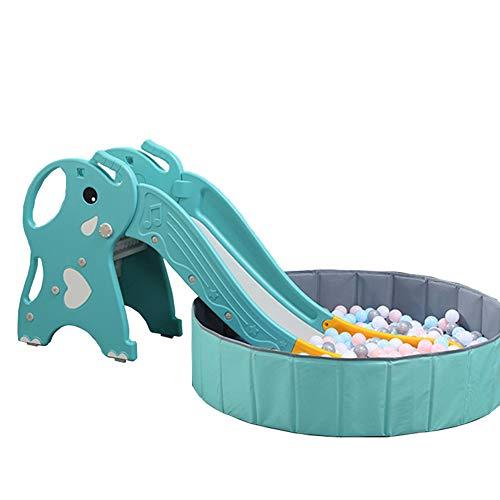 MYRCLMY Tobogán para niños, tobogán interior, tobogán pequeño, tobogán para el hogar, parque infantil con piscina de bolas plegable y 300 bolas, juguetes de 2-3-6 años