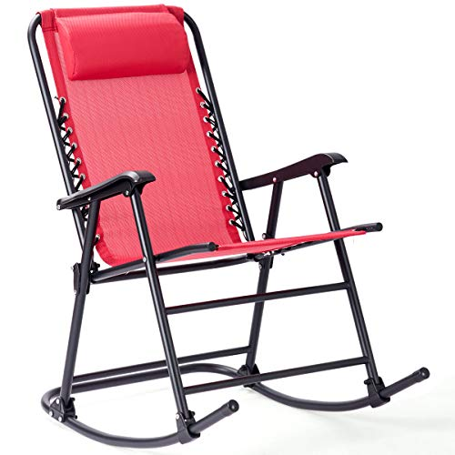 Goplus Folding Rocking Chair w/Headrest Patio Pool Yard Outdoor Portable Recliner for Camping Fishing Beach (Red)