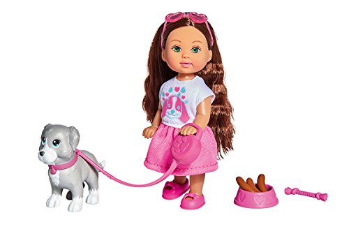 Simba 105733272 - Evi Love Ferienspaß Freunde / Puppe mit Hund und Zubehör / Ankleidepuppe/ 12cm, für Kinder ab 3 Jahren
