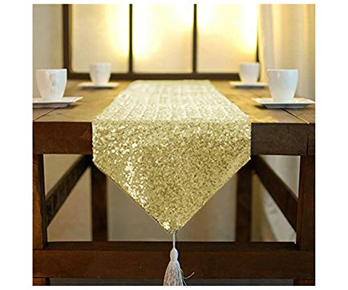 Light Gold Table Runners Tassel Sequined Table Runner 12x72-Inch Champagne Gold Dining Table Runner Home Decor Wedding Table Runners Napkins Table Runners (12x72-Inch, Light Gold)