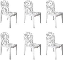 Shaf - Flora   Set 6 Sillas Jardin de Color Blanco   Fabricado en España con Materiales Reciclados