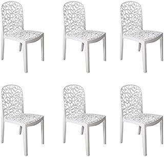 Shaf - Flora | Set 6 Sillas Jardin de Color Blanco | Fabricado en España con Materiales Reciclados