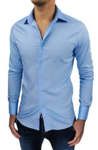 Camicia Uomo Sartoriale Slim Fit Aderente Nuova Casual Elegante (S, Celeste)