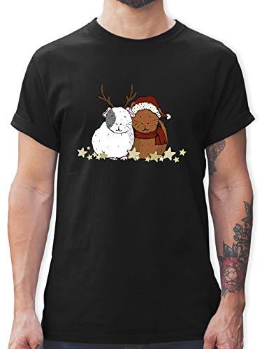 Weihnachten & Silvester - Weihnachtliche Meerschweinchen - XL - Schwarz - weihnachtliche t Shirt - L190 - Tshirt Herren und Männer T-Shirts