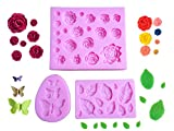 Pack of 3 Cake Decoration Molds, Butterfly, Leaves and Rose Flower Silicone Mold for Polymer Clay Wax Melt Fondant Candy Chocolate Making and DIY Gummy Sugar Crafts