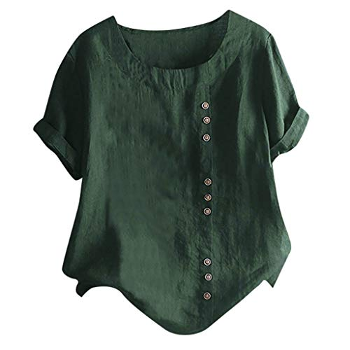Lazzboy Damen Casual Loose Button Plus Size Täglich Boho Tanic T-Shirt Bluse Tops Sommer Einfarbig Kurzarm Tunika Blusen Leicht Asymmetrisch Shirt(Grün,S)