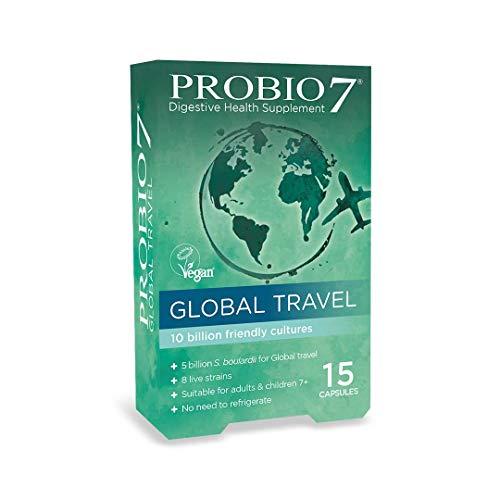 Probio7 Global Travel | for Travelling Abroad | 8 Live Strains | 5 Billion CFU + 5 Billion S. boulardii | Digestive Health Supplement
