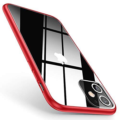 TORRAS HD Hybrid Kompatibel mit iPhone 11 Hülle [Transparent & Anti Gelb] Stoßfest Klar iPhone 11 Case Hard PC Back & Soft Silikon Bumper Handyhülle für iPhone 11 [6,1 Zoll] (Rot)