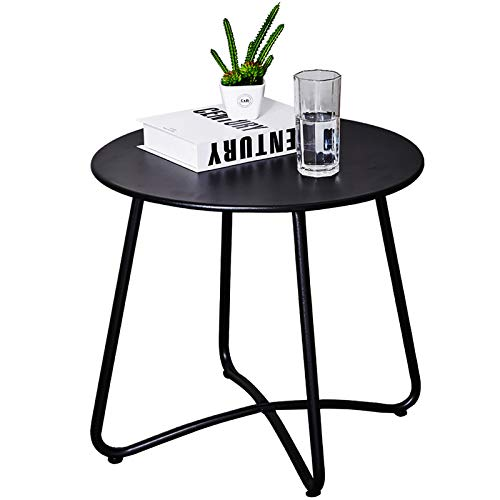 Patio Side Table Outdoor, Small Round Metal Side Table Waterproof Portable Coffee Table End Table for Garden, Porch, Balcony, Yard (Black)
