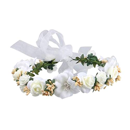 Lurrose 1pcs diadema de flores hermosa guirnalda floral corona tocado corona de pelo para dama de honor novia flor niñas
