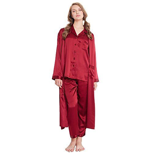 LilySilk Women's Silk Pajamas & Robe Set 3pcs 22 Momme 100 Pure Mulberry Classic Full Length Night Wear Claret XS