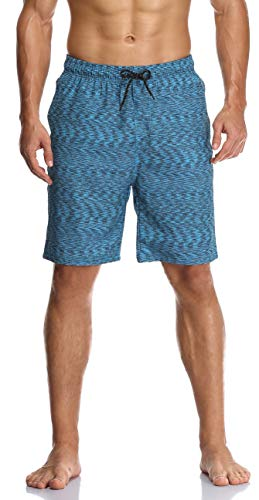 Flytop Mens Swim Trunks Quick Dry Board Shorts with Zipper Pockets Bathing Suit Blue