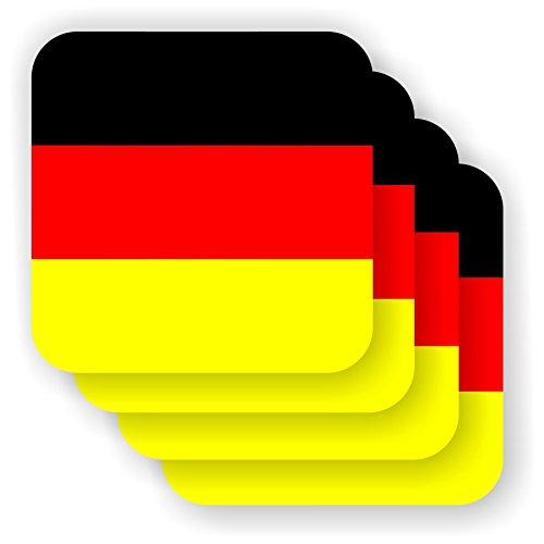 FanShirts4u Untersetzer/Bierdeckel - DEUTSCHLAND - Drink Coaster Flag Flagge Fahne 4 Stück GERMANY