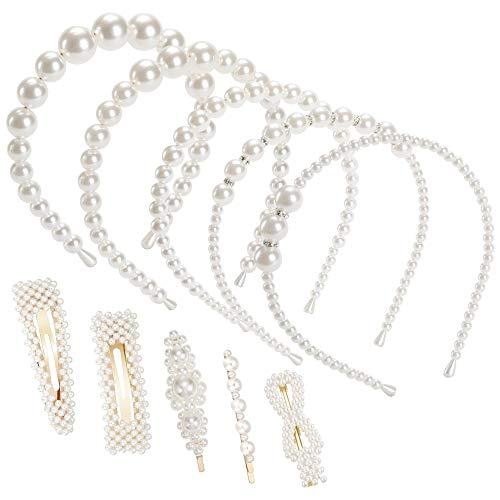 Ucradle Perle Haarreifen Damen Haarspange Mädchen, Elegant Perlen Haarschmuck Zubehör, Weiße Perle Stirnbänder und haarklammer für Party, Hochzeit, Geburtstag, 10 Stück