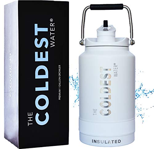 The Coldest Water Vacuum Insulated Stainless Steel One Gallon Jug with Flip Top Straw Lid 2.0-128 oz Super Insulated Water Bottle (1 Gallon - Epic White)