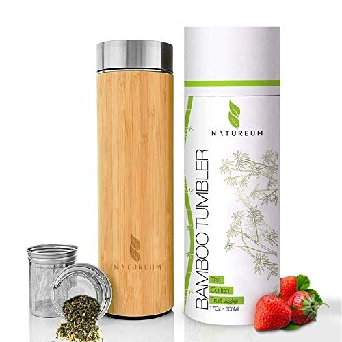 NATUREUM Bamboo Tumbler with Tea Infuser and Strainer - 17oz Hot/Cold Brew Coffee Travel Mug with Mesh Filter for Loose Tea, Vacuum Insulated Stainless Steel Tumbler Tea Bottle, Fruit Water Flask