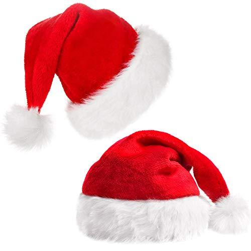 LYTIVAGEN 2 PCS Gorros Navideños para Niños Gorro de Papá Noel Sombrero de Santa Gorro Rojo de Felpa para Navidad, Halloween,Día del Niño, Actuaciones Escolares, Fiestas,Cumpleaños
