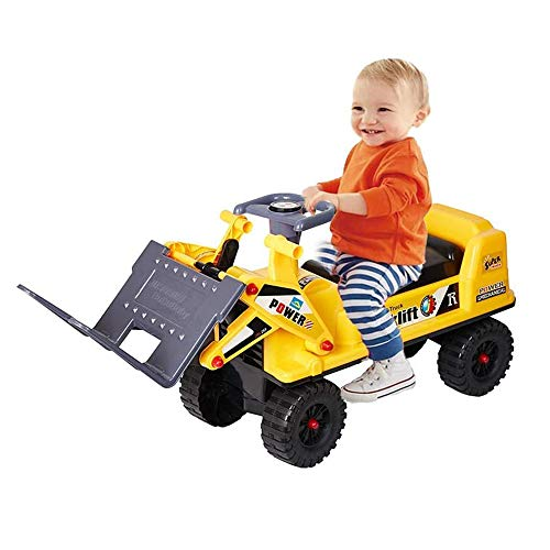 COLOR TREE Ride-on Forklift Construction Truck Toy for Children,Sound, Lifting, Loading and Unloading, Sliding Function
