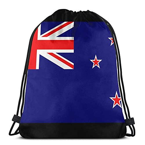 Bolsas con cordón de la bandera de Nueva Zelanda unisex con cordón, bolsa de deporte, bolsa grande con cordón, mochila de gimnasio a granel